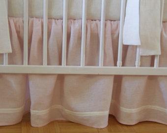 Linen Crib  bedding -  gathered skirt, pink linen - girl  nursery bedding