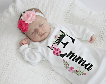 Personalized Baby Gift Girl Newborn Girl Coming Home Outfit Personalized Baby Girl Clothes  Baby Clothes Infant Gown Baby Outfit