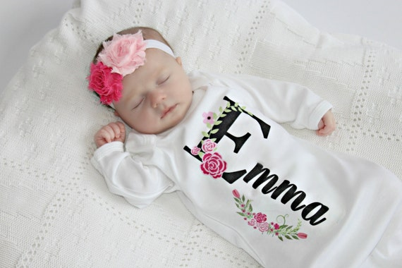 Personalized baby gift girl newborn girl coming home outfit like this item negle Choice Image