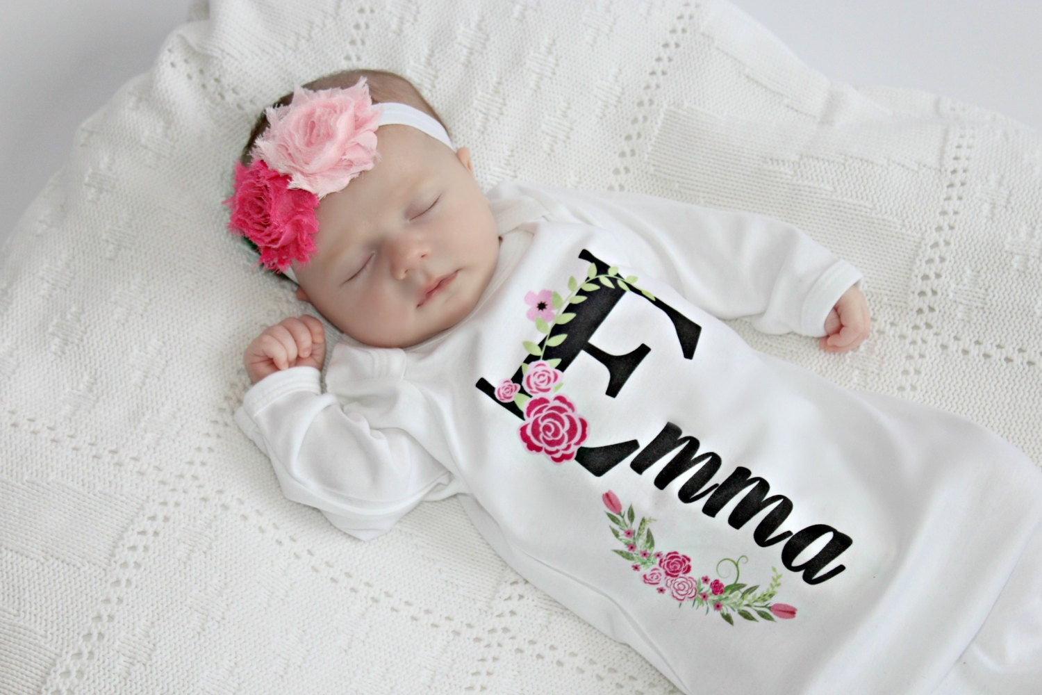 Newborn girl take home outfit personalized baby girl clothes zoom negle Gallery