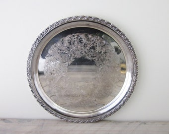 Vintage Round Silver Plate Tray Wm Rogers