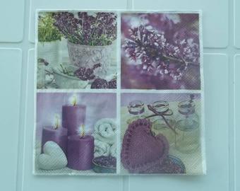 set of 2 Lavender or lilac paper napkins