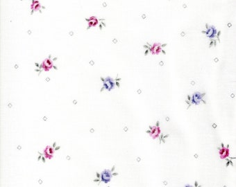 Garden Twist Anniversary Fabric Designed by Sharon Yenter for In The Beginning,Purple and Pink Flowers on White By The Yard