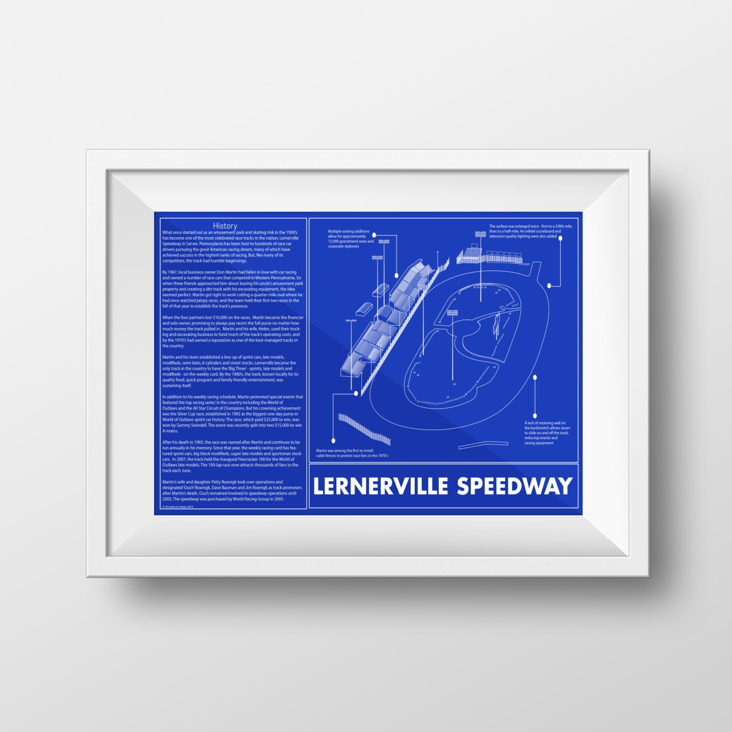 Sale lernerville speedway blueprint sketch art print great zoom malvernweather