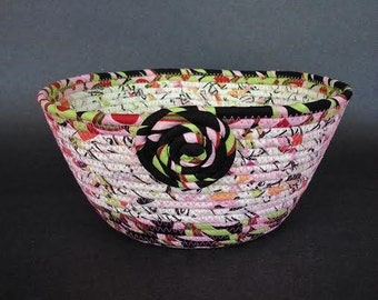 Coiled Fabric Basket, Confetti Surprise, clothesline basket