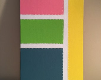 "6 - ""Bouncing Baby"", Pink, green, blue & yellow, abstract acrylic painting,, 10x20"