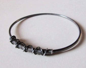 Oxidised silver bangle