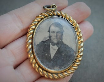 Large Georgian Ambrotype Swivel Locket Pendant / Rare Antique Victorian Memorial Open Faced Locket