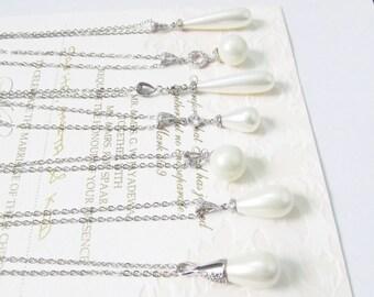 Teardrop Pearl Pendant Necklace Bridal Jewelry Pearl Bridal Necklace Pearl Silver Wedding Necklace Single Pearl Necklace