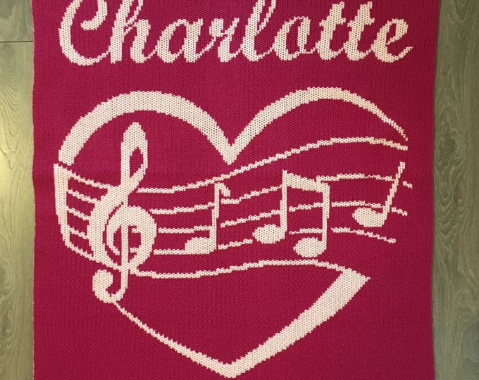 Musical Heart Custom Knit Baby & Stroller Blanket