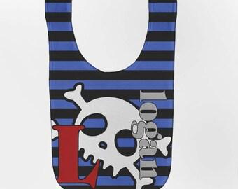 Personalized Baby Bib, Striped Skull Monogrammed.