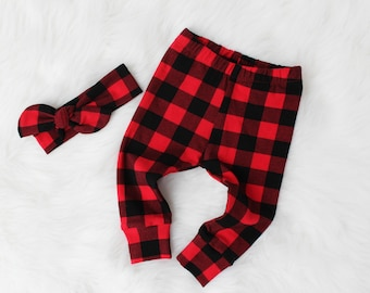Buffalo Plaid for Baby Girl - Leggings and Top Knot Headband - Girl Buffalo Plaid - Newborn Buffalo Plaid - Toddler Buffalo Plaid