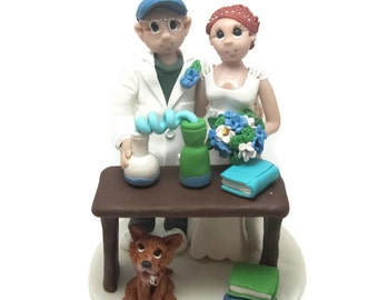 Custom wedding cake topper, personalized cake topper, Bride and groom cake topper, Mr and Mrs cake topper, Science themed wedding