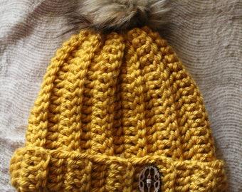 Yellow Chunky Ribbed Beanie w/ Faux Fur Pom