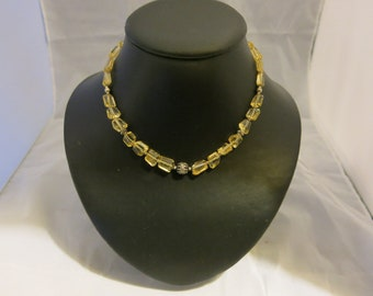 Citrine gem stone Bead Necklace with silver beads