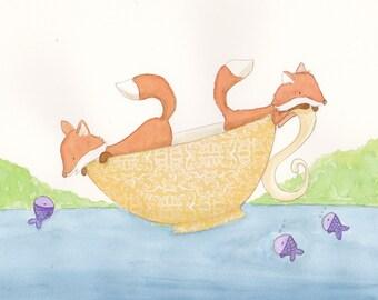 Tea Cup Foxes 8x10 Print