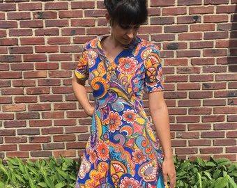 handmade 60s psychedelic floral print mini dress