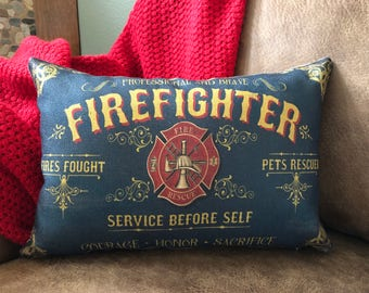 Firefighter Gift for Him - Firefighter Decor - Maltese Cross - Firefighter Pillow - Firefighter Pillowcase - Firefighter Badge Throw Pillow