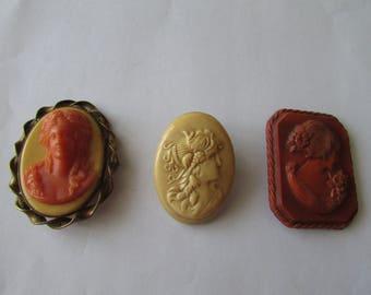 3 Vintage Plastic Cameo Pin Lot Celluloid Portrait Brooch