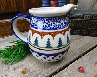 Vintage Polish Pottery Christmas Winter Evergreen Pitcher - Boleslawiec