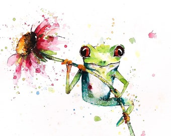 Bright Eyes (Green Tree Frog on a Echinacea Flower)  Art Print of Oringinal Watercolor Painting 5x7, and 8x10