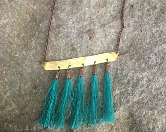 Brass tassel necklace, layering necklace, turquoise tassel necklace, boho tassel necklace, turquoise necklace, bar necklace