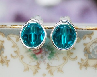 Blue Zircon Studs , December Birthstone Earrings , Swarovski Blue Green Studs