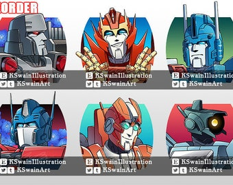 """Transformers MTMTE 2"""" Double Sided Clear Acrylic Character Keychains"""