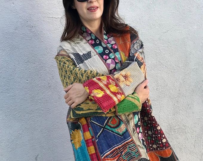 Beautiful plus size reversible vintage kantha jacket/kimono