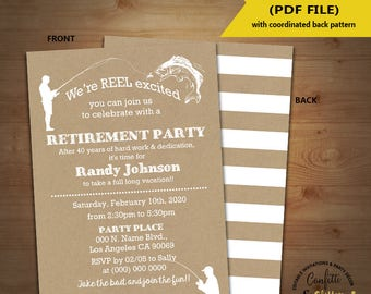 Kraft retirement etsy fishing retirement invitation retirement fisherman men party kraft invite instant download you edit text and print yourself 5872 solutioingenieria Images