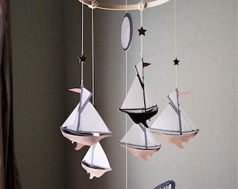 Nautical Dreamy Sailboat, Moon & Whale Mobile