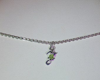 Birthstone & Initial Necklace - Sterling Silver Chain - Sterling Silver Initial - Personalized - Made to Order