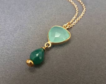 Chalcedony, Green Onyx Pendant Gold Plated