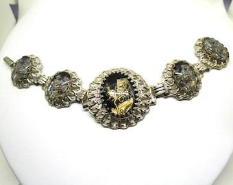 Asian Inspired Bracelet - Vintage, Gold Tone, Ornate Panels with Black Enamel and Asian Rickshaw Scene Bracelet