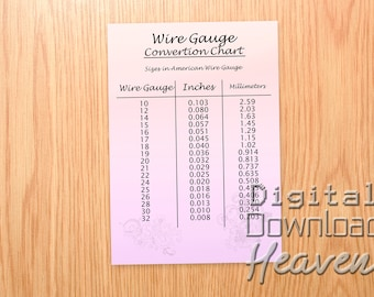 Gauge chart etsy downloadable wire gauge chart printable wire gauge jpeg digital download jewelry making information what gauge wire to use keyboard keysfo Images