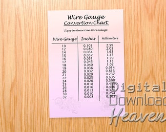 Gauge chart etsy downloadable wire gauge chart printable wire gauge jpeg digital download jewelry making information what gauge wire to use keyboard keysfo