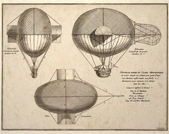 Steampunk Art Print Airship Balloon French Patent Design
