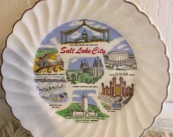 Vintage Salt Lake City, Utah Souvenir Plate