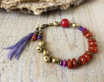 Bracelet Bohème, bijoux, bracelet d'yoga, boho chic bracelet, bracelet de pierres précieuses, cadeau de moins de 50