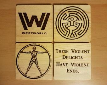 Westworld 4-pc woodburned coaster set