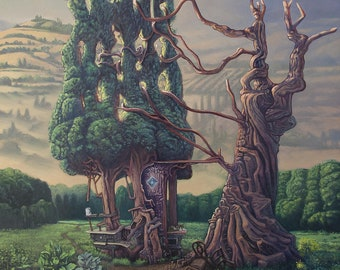 Surreal Painting. Garden. Plants. Cats. Landscape. Oil on Canvas