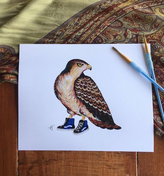 red tailed hawk wearing high tops, vans shoes, birds of prey, hawk  paintings, hawk, california birds, blue vans shoes, wildlife in footwear