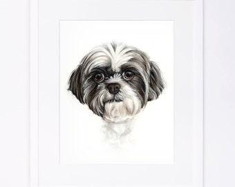 Custom Original Watercolor Dog Portrait