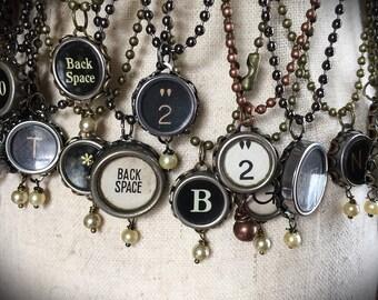 Vintage typewriter key necklace, You choose your letter/number/symbol!