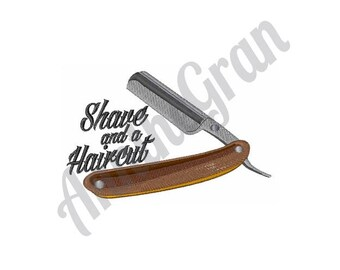 Shaving Razor - Machine Embroidery Design, Shave and a Haircut Embroidery