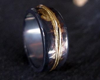 Mens Wedding Ring Rustic Mens Wedding Band 8mm Oxidized Ring Unique Mens Wedding Band Viking Wedding Ring Mens Wedding Bands Wedding Rings