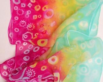 RAINBOW FLASHBACK unique hand dyed long silk chiffon scarf