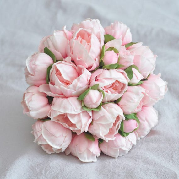Real Touch Pink Peony Bridal Bouquet Artificial Peony Flower