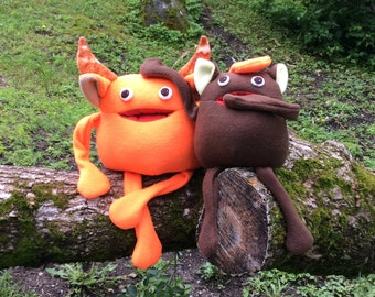 Gobble and Munch Friendly Monster - Plush Monster - Monster softie with or without horns - Happy Monster