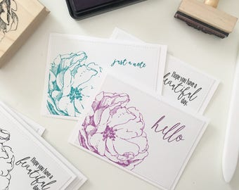 Floral Note Card Set / Handmade Cards / Note Cards / Pink Aqua Black White